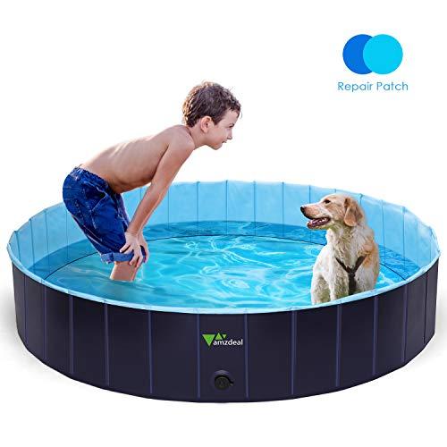 amzdeal Hundepool Schwimmbad - Faltbares Doggy Pool, 100% Umweltfreundliche PVC, Rutschfest Schwimmbad für Hunde und Katzen, Hunde Planschbecken für Indoor und...