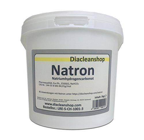 Natron 5 kg Pulver in pharmazeutischer Qualität – Natriumhydrogencarbonat (E500ii) - NaHCO3 - Backsoda - Basenbad – Hausmittel zum Backen, Reinigen, Baden,...