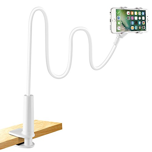 LONZOTH mobile phone holder, mobile phone holder gooseneck holder universal stand for iPhone Samsung Huawei smartphone mobile phone tablet rotate 360 ​​° (white)