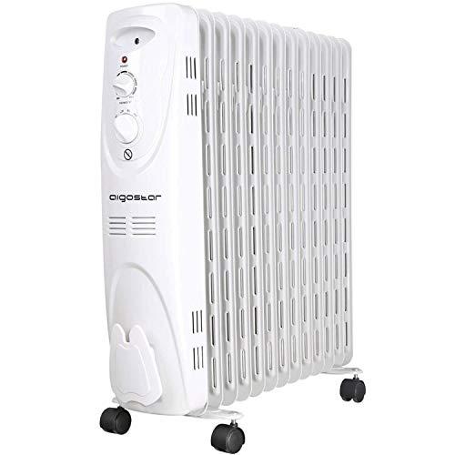 Aigostar Warm Snow 33JHF - 2500W Ölradiator Elektrische Heizkörper, Ölheizkörper mit 13 Rippen,Drei Heizstufen und Thermostatsteuerung...
