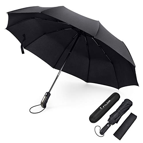 FYLINA Regenschirm Taschenschirm Sturmfest, Auf-Zu-Automatik 9 Edelstahl-Rippen Teflon-Beschichtung Leicht Kompakt Windsicher Stabil Transportabel Reiseschirm...