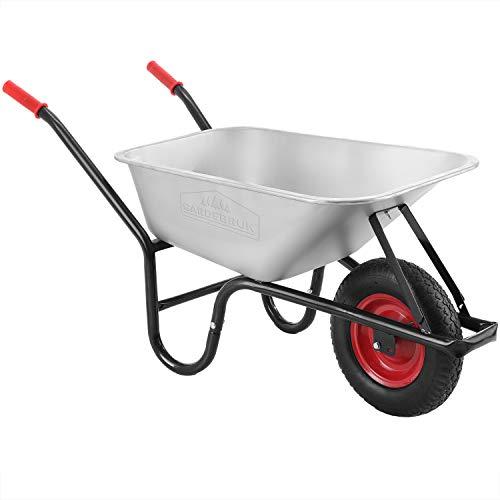 Gardebruk Schubkarre 100 Liter bis 250kg Luftreifen mit Stahlfelge verzinkt Garten Bauschubkarre Gartenschubkarre