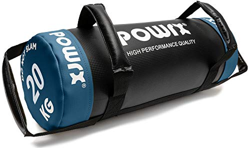 POWRX Power Bag I 5-30 kg I Kunstleder Fitness Bag für Functional Fitness (20 kg Schwarz/Dunkelblau)