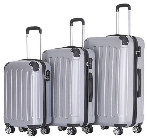 BEIBYE Hard Case Trolley Trolley Trolley Hand Bag 4 Rolls (ML-XL Set) (Silver, Set)