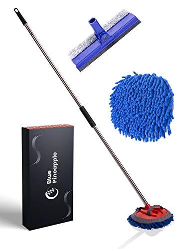 BLUE PINEAPPLE® Autowaschbürste mit Teleskopstiel - inkl. Fensterabzieher/Fensterputzer | Waschbürste Auto | Extrem Schonende Profi Reinigung von...