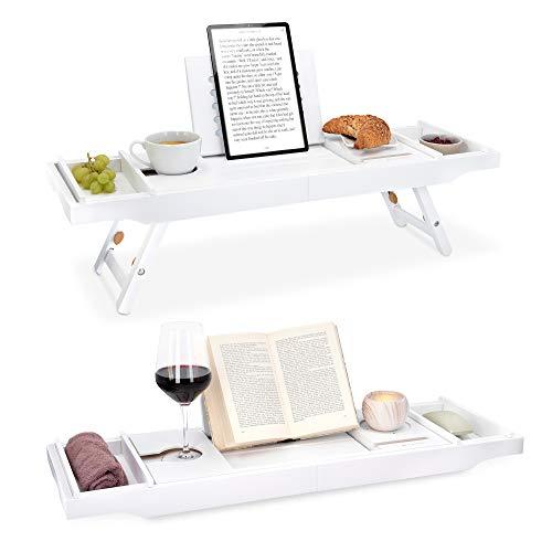 Navaris bambu-kylpyammehylly, jatkettava aamiaisalusta - kirjahylly viinilasiteline - tarjotin kylpyammeelle ja sängylle - valmistettu valkoisesta puusta