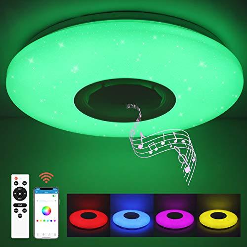 SHILOOK Led Deckenleuchte Farbwechsel mit Bluetooth Lautsprecher, 24W Deckenlampe Dimmbar mit Fernbedienung und APP-Steuerung, Sternenhimmel Rund, für Schlafzimmer...