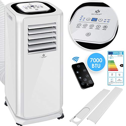 KESSER® - air conditioning mobile air conditioner 4in1 cooling, dehumidifier, ventilation, fan - 7000 BTU / h (2.000 Watt) - air conditioning with mounting material, remote control ...