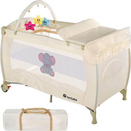 TecTake Kinder Reisebett höhenverstellbar mit Babyeinlage - diverse Farben - (Beige | Nr. 402204)