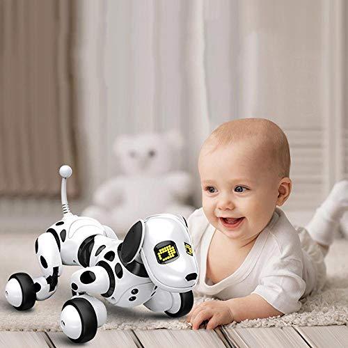 KOBWA Roboter-Roboterhund, Smart Robot Dog, Drahtloser Roboterhund, Gehen, Sprechen, Singen und Mathe für Jungen/Mädchen (Weiß)