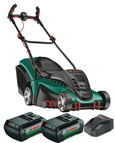 Bosch Rechargeable Lawnmower Rotak 430 LI (2 battery, 36 volts, charger, carton, grass catcher: 50 l, cutting width / cutting height: 43 cm / 2-7 cm)