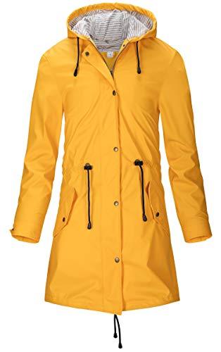 SWAMPLAND Damen PU Regenjacke Mit Kapuze Wasserdicht Übergangsjacke Regenmantel, Gelb, Gr.- 42 EU/ Large