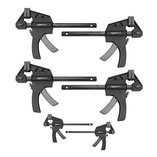 Amazon Basics Einhandzwinge, 6-teiliges Set, 2 Stück 10,16 cm, 4 Stück 15,24 cm