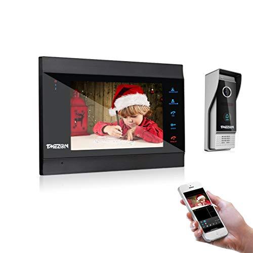 TMEZON WLAN Video Türsprechanlage Türklingel Gegensprechanlage System,7 Zoll 1080P WLAN Monitor mit Verdrahteter Kamera im Freien, Fernbedienung Türöffner und...
