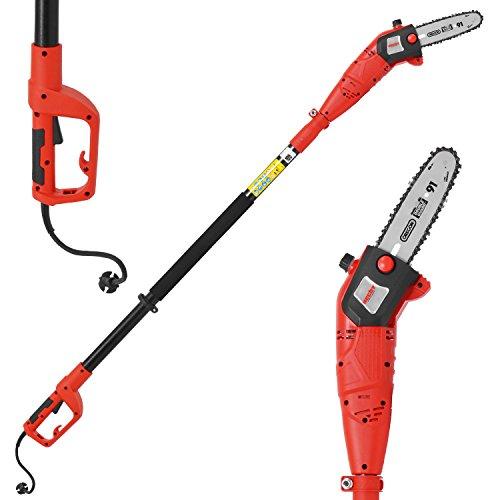 HECHT sécateurs électriques tronçonneuse professionnelle tronçonneuse branche 976 W (750 Watt, longueur de l'épée: 24 cm, hauteur de travail: jusqu'à environ 4 m)