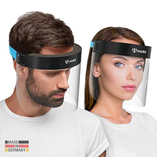 HARD 1x Pro Visier Gesichtsschutz Zertifiziertes Face Shield mit Anti Beschlag, Gesichtsvisier, Gesichtsschild Made in Germany für Erwachsene - Blau/Schwarz