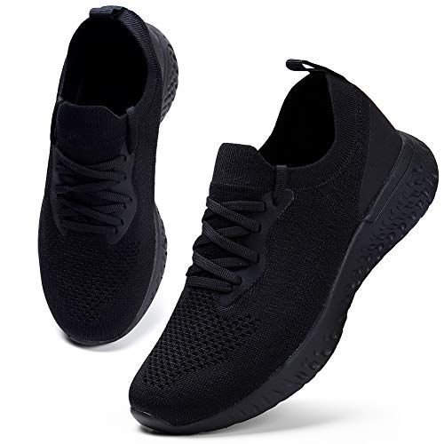 HKR Women's Sneakers Breathable Running Shoes Lightweight Sports Shoes Casual Shoes Street Running Shoes Sneaker Trainers for Running Fitness Gym Outdoor Black 40 ...