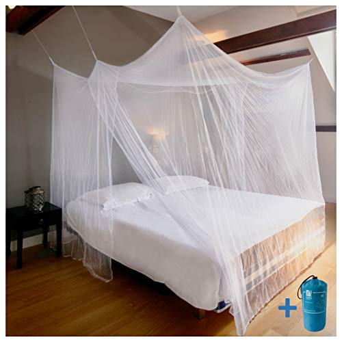 EVEN NATURALS MOSQUITO NET Double bed, large mosquito net for bed, finest holes, rectangular net curtain trip, insect repellent, 2 entries, simple ...