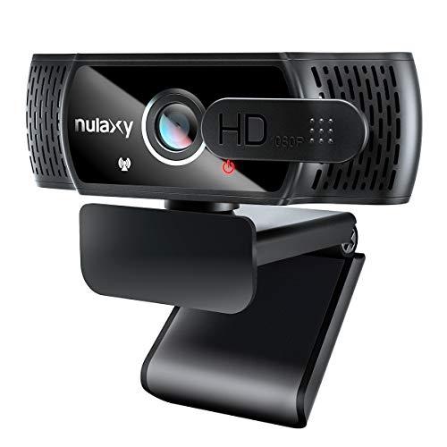 Nulaxy C900 Webcam mit Mikrofon, FHD 1080P Webcam mit Abdeckung, Webcam USB Plug & Play, Laptop PC Kamera für Video-Streaming, Konferenz, Spiele, Kompatibel mit...