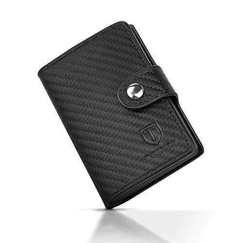 Kreditkartenetui, Premium Leder Kartenetui Dreifach Gefaltet Mini-Geldbörse für Bis zu 10 Karten, Geldbeutel mit RFID Schutz und Aluminium Kreditkarten-etui,...