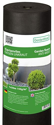 GardenMate 1mx50m Rolle 150g/m² Premium Gartenvlies - Unkrautvlies Extrem Reißfestes Unkrautschutzvlies - Hohe UV-Stabilisierung - Wasserdurchlässig -...