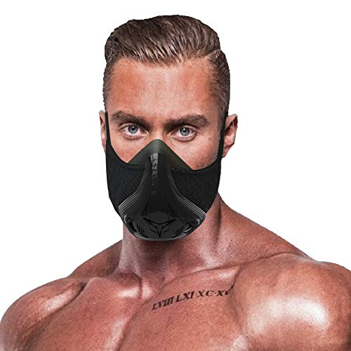 QISE Training Mask Resistance Breathing Oxygen Sport Fitness Mask 48 breathing resistance levels and imitation of training at great heights for running cycling ...