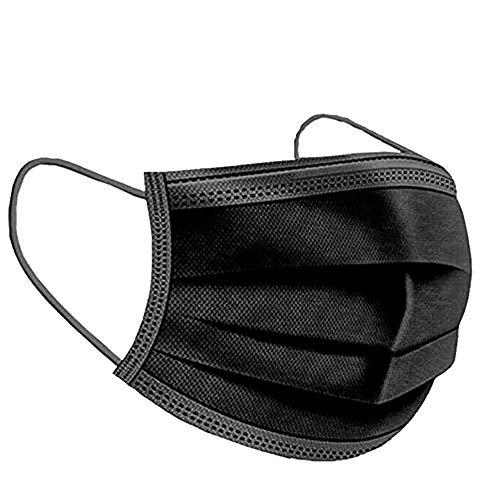 Mund_und_nasenschutz | Masken_mundschutz | mundschutz_Maske | einwegmasken | Gesichtsmaske | mundschutz_einweg | schutzmasken | einmalmasken (50, Schwarz)