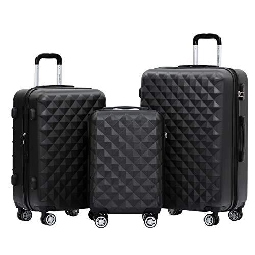 BEIBYE Zwillingsrollen 2066 Hartschale Trolley Koffer Reisekoffer Gepäck M-L-XL-Set (Schwarz, Set)
