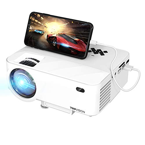 TOPVISION Mini Beamer mit Screen Mirroring,5000 Lumen Heimkino Beamer Full HD 1080P Video Beamer mit 240' Display, 80000 Stunden LCD Beamer kompatibel mit...