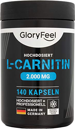 GloryFeel L-Carnitin Kapseln Hochdosiert 3000-140 vegane Kapseln - 3.000mg original L-Carnitintartrat davon 2.000mg reines L-Carnitin - Laborgeprüft und ohne...