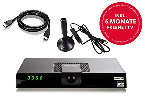Xoro HRT 8720 KIT DVB-T2 Receiver (HDTV, 6 Monate freenet TV, PVR, aktive Zimmerantenne, 1,2m HDMI-Kabel) schwarz