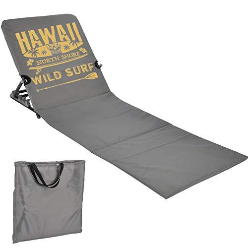 JEMIDI Strandmatte Schwimmbadmatte mit Rückenlehne nur 1,7 kg - Super leicht!!! Schwimmbad Decke Matte Laken Liege Strandliege Grau/Gelb Hawaii