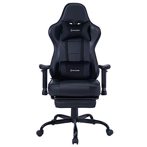 KILLABEE Gaming Stuhl Verstellbares Massage Lendenkissen Einziehbare Fußstütze, verstellbare Armlehne und hohe Rückenlehne aus Leder im Rennstil für Computer...