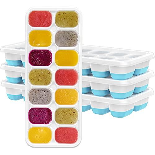 TOPELEK 14-Fach Eiswürfelform 4er Pack Silikon Eiswuerfel Mit Deckel Ice Tray Ice Cube, Kühl Aufbewahren, LFGB Zertifiziert, Blau ( 4er pack )