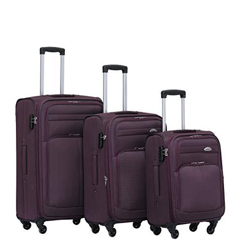 BEIBYE Kofferset Trolley Gepäckset Stoff Dehnungsfuge Koffer Reisekoffer (Lila)