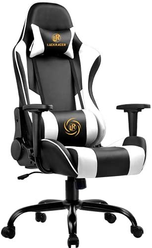 LUCKRACER Gaming Stuhl Bürostuhl Gamer Ergonomischer Stuhl die erneuerten befestigten stabileren Armlehnen Einteiliger Stahlrahmen Weiß