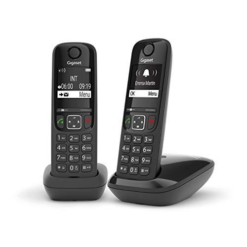 Gigaset AS690 Duo Festnetz-/Schnurlostelefon ohne Anrufbeantworter (DECT-Telefon mit 2 Mobilteilen, Freisprechfunktion, großes Display, große Tasten) schwarz