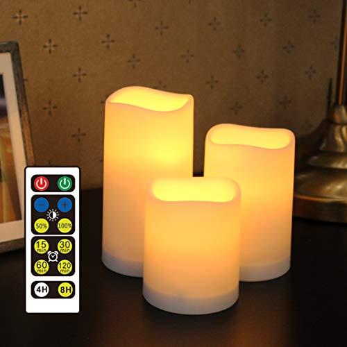 WRalwaysLX Flammenlose Kunststoff-Stumpenkerzen für Außen- und Innenbereich, LED-Kerzen mit Fernbedienung und Timer, 3 Kerzen, verwendet durch 3 AAA-Batterien