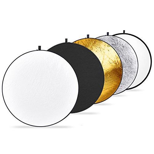 Neewer 5 in 1 Faltreflektoren Set Reflektor (110CM Ø) Gold, Silber, Weiß, Schwarz und transparent für Studio und Foto Diffusor