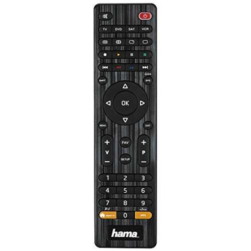 Hama Universal Fernbedienung 4-in-1 Smart TV (bis zu 4 Geräte steuern, über 1000 Marken vorprogrammiert, TV/DVD/STB/VCR, IR Multifunktionsfernbedienung...