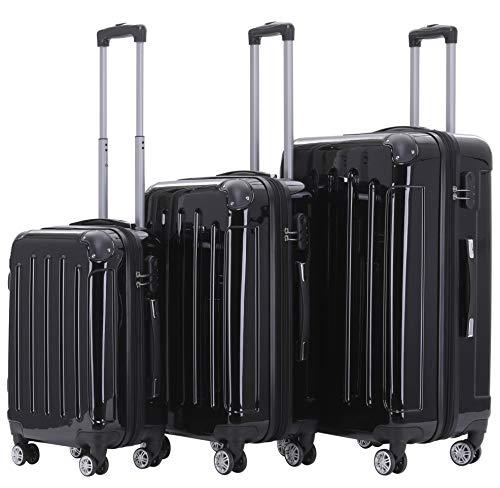 BEIBYE Twin Rolls 2048 Hard Shell Trolley Suitcase Travel Case Bags Luggage in ML-XL Set (Black, Set)
