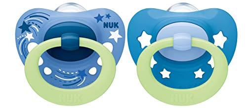 NUK Signature Night Schnuller   18-36Monate   Schnuller mit Leuchteffekt   BPA-freies Silikon   blaue Sterne   2Stück