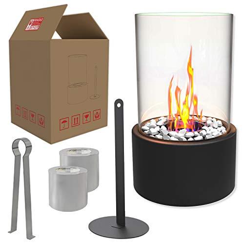 Einzigartiger Tischkamin | Feuertisch mit Deko Steinen und 2 Brennkammern (Tanks) für unendliche Brenndauer | Ethanol Kamin | Tischfeuer | Indoor Outdoor |...