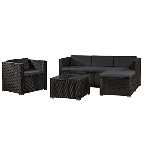 ArtLife Polyrattan Lounge Punta Cana L black with coverings in dark gray | Garden furniture set with sofa, stool and table for 4-5 persons