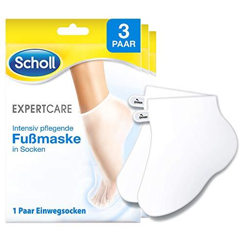 Scholl EXPERTCARE Intensiv pflegende Fußmaske in Socken – Feuchtigkeitsspendende Fußpflege für seidig weiche Füße – 3 Paar Einwegsocken