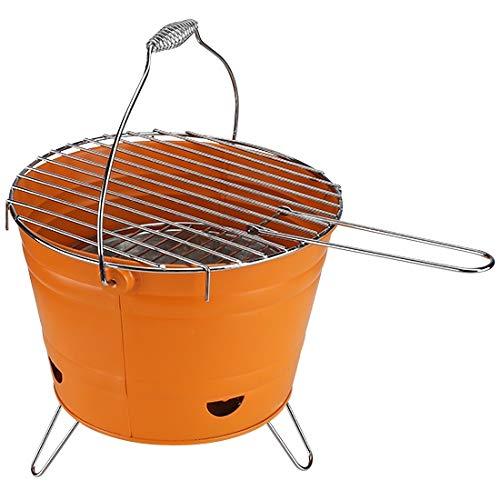 marion10020 Grilleimer Grill-Eimer Holzkohlegrill Eimergrill Grill BBQ Partygrill, mit klappbaren Füßen & Tragegriff, Grillfläche Ø ca. 27 cm, orange