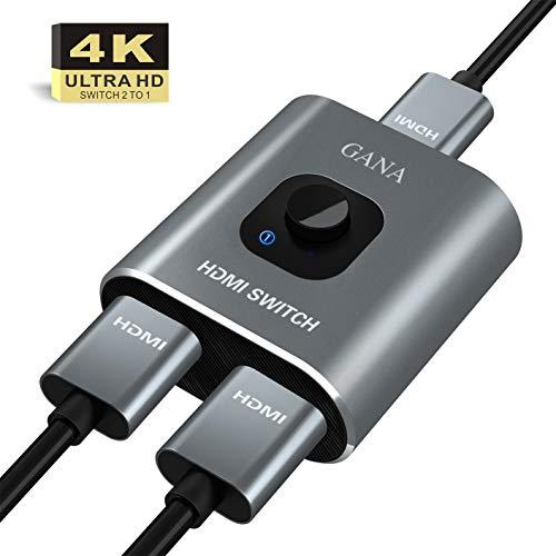 HDMI Switch HDMI Splitter,GANA Aluminium HDMI Switcher Bidirektionaler 2 In 1 Out oder 1 In 2 Out Manueller HDMI Umschalter unterstützt HD 4K 3D für HD TV/Fire...
