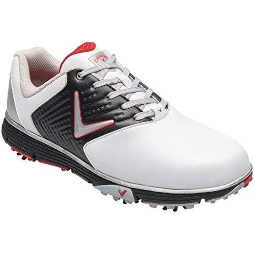 Callaway Men's Chev Mulligan S Waterproof Lightweights Golf Shoes, White (White / Black / Red White / Black / Red), 42.5 EU