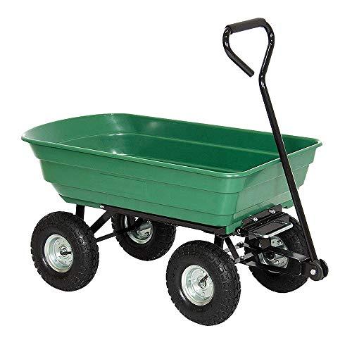 HENGMEI Gartenkarre Handwagen Gartenwagen Bollerwagen Kippfunktion Kippwagen Transportwagen 300kg belastbar für Gärten(Modell A)