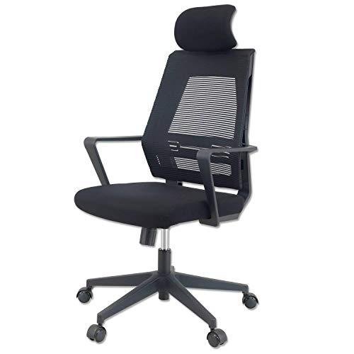 KLIM K300 Office Chair - Ergonomischer Bürostuhl + Weiches Sitzkissen & Stoff + Inklusive Kopfstütze + Bis zu 135 kg belastbar + Verstellbarer Stuhl für Büro und...
